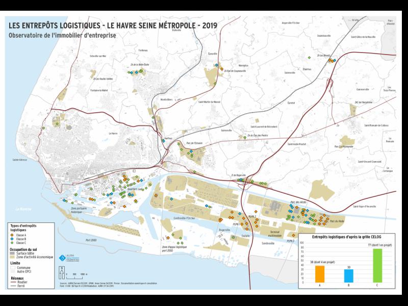 Carte - Les entrepôts logistique - Le Havre Seine Métropole - 2019