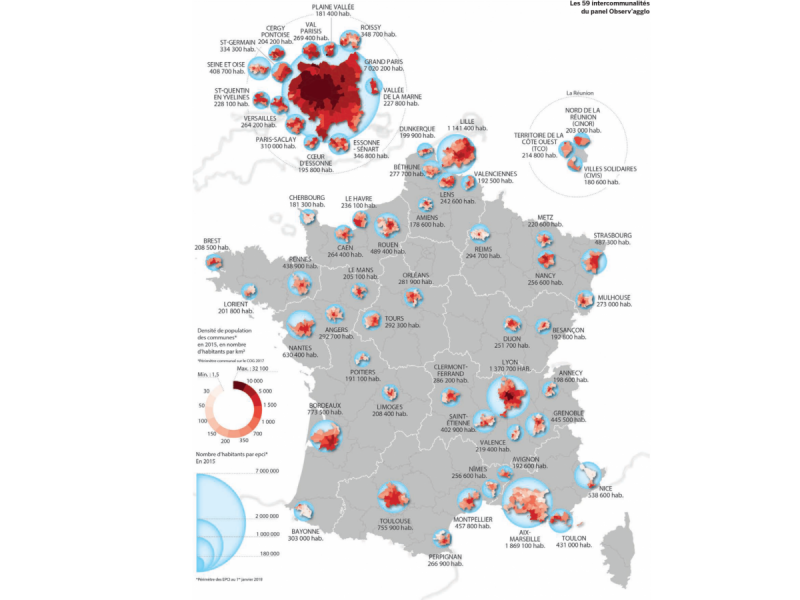 Observ'agglo 2019 - Carte des intercommunalités du panel